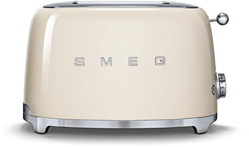 Smeg TSF01CRUS 2 Slice Toaster with 6 Browning Levels, Stainless Steel Ball Lever Knob, Backlit Chrome Knob, Self-Centering Racks and Automatic Slice Pop Up in Cream