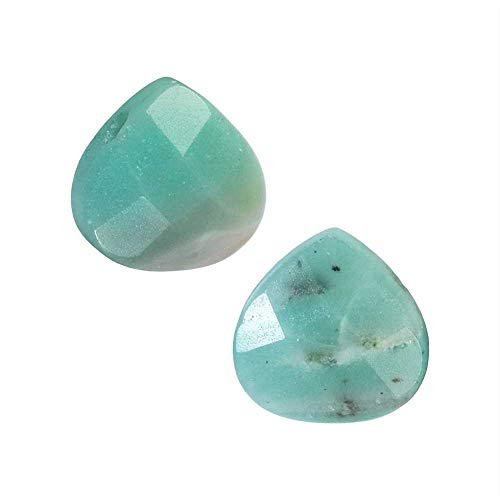 Natural Amazonite Gemstone Beads, Faceted Puff Heart Briolettes 12mm, 6 Pieces,Aqua Blue Green