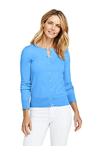 - Lands' End Women's Tall Supima Cotton Cardigan Sweater, L, Cozumel Blue