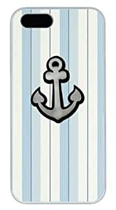 Anchor On Light Color Stripe DIY Hard Shell White iphone 5/5s Case On Custom Service