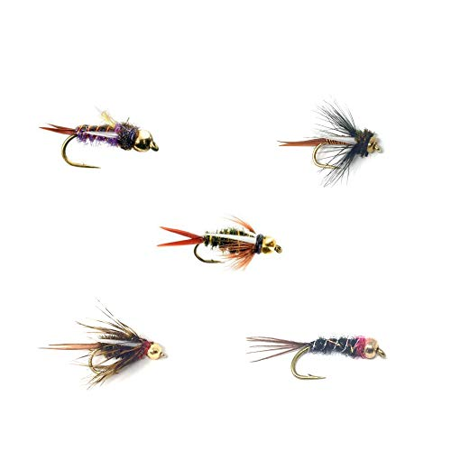 Feeder Creek Fly Fishing Trout Flies - Bead Head Prince Nymph Assortment - 5 Patterns in Sizes 12,14,16 - Prince, Montana, Electric, King, Purple, and Psycho (15 Flies) (Best Trout Fishing In Montana)