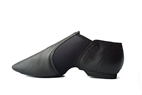 DANCE YOU Black Jazz Shoes, Leather Upper Slip-on Jazz Shoe for Toddler/Little Kid/Big Kid/Women/ Men JY-1302