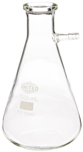 United Scientific FG5340-1000 Borosilicate Glass Heavy Wall Filtering Flask, Bolt Neck with Tubulation, 1000ml Capacity (Heavy Wall Filtering Flasks)