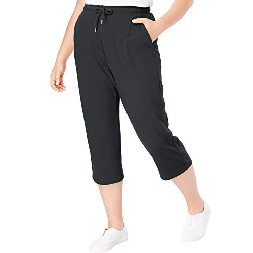 Woman Within Women's Plus Size Sport Knit Capri Pant - Heather Charcoal, M