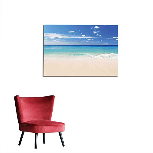 Wall Picture Decoration Ocean,Tropical Haven Style Sandy Shore and Sea with Waves Escape to Paradise Theme,Cream Turquoise White Funny Poster W19.7 x L15.7 ()