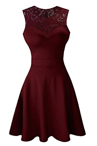 Sylvestidoso Women's A-Line Sleeveless Pleated Little Wine Red Cocktail Party Dress with Floral Lace (XS, Wine Red)