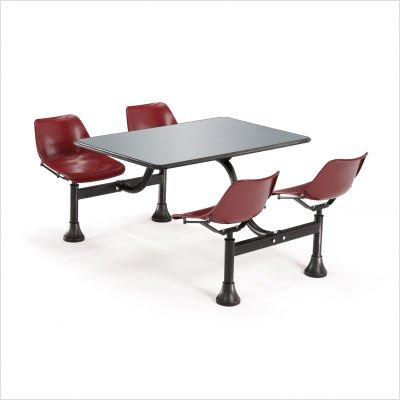 OFM Cluster Table with 4 Attached Swivel Chairs and Stainless Steel Top, Red by OFM (Image #2)