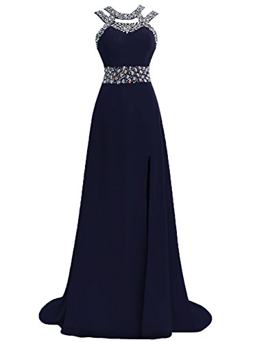 Back Halter Dresses Formal Gowns Blue Bridesmaid Slit Dress Prom Open JAEDEN Navy A line Chiffon Evening Long q6Eav