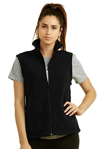(Women's Polar Fleece Full Zip Up Winter Vest Plus Size (XL Black))