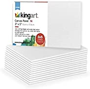 KINGART 819-14 3 x 5 inch, 14-Pack Canvas Panels, White 14 Piece