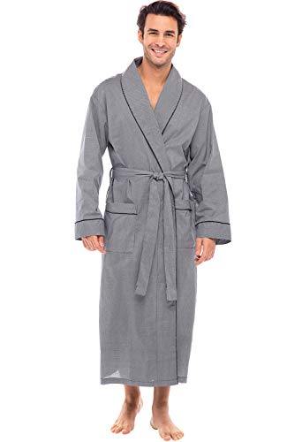 Alexander Del Rossa Mens Lightweight Cotton Robe, 3XL Black Houndstooth Check (A0715R603X)