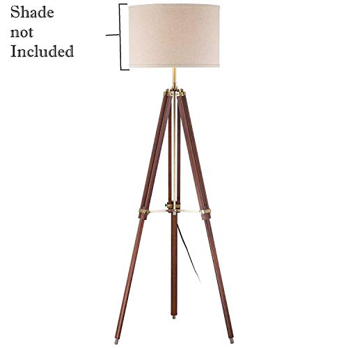 Surveyor Tripod Floor Lamp for Living Room Cherry Finish Wood (Only Lamp Stand)
