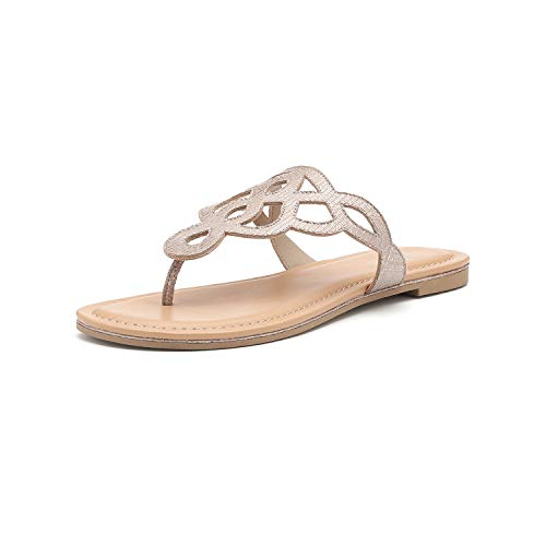 (Women's T-Strap Flat Thong Slip On Sandals Dress Or Casual Flip Flops (5, Taupe))