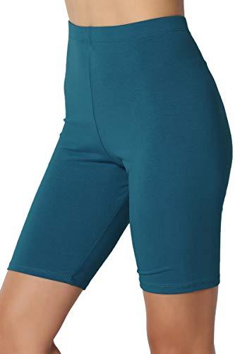 TheMogan Women's Mid Thigh Cotton High Waist Active Short Leggings Teal 1XL ()