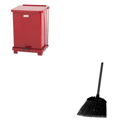 KITRCP637400BLARCPST7ERDPL - Value Kit - Rubbermaid Defenders Biohazard Step Can (RCPST7ERDPL) and Rubbermaid-Black Brute Angled Lobby Broom (RCP637400BLA) by Rubbermaid