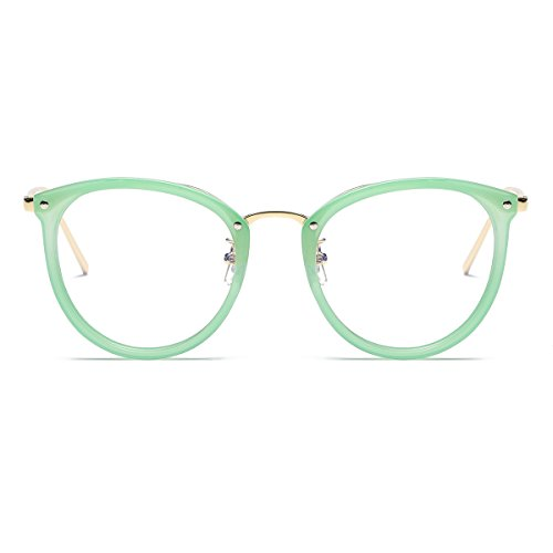 Amomoma Womens Fashion Clear Lens Round Frame Eye Glasses AM5001 Green Frame/Clear - Glasses Frames Prescription Discount