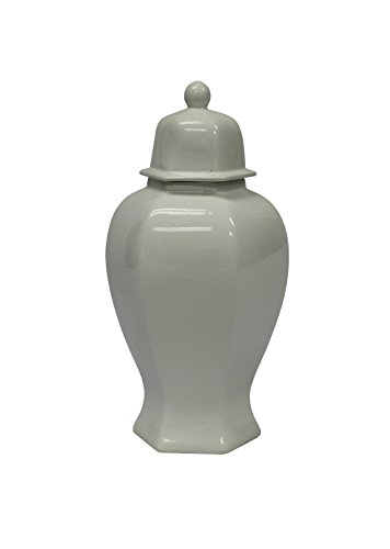 Sagebrook Home 12052-02 Decorative Ceramic 6-Sided Temple Jar, White Ceramic, 8.5 x 8.5 x 19 Inches by Sagebrook Home