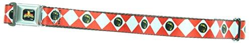 Power Rangers Logo Diamond Red Ranger Kids Seatbelt Belt (For Pants) (Power Ranger Belt)