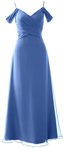 MACloth Elegant Off the Shoulder Long Bridesmaid Dress Wedding Party Formal Gown Horizon
