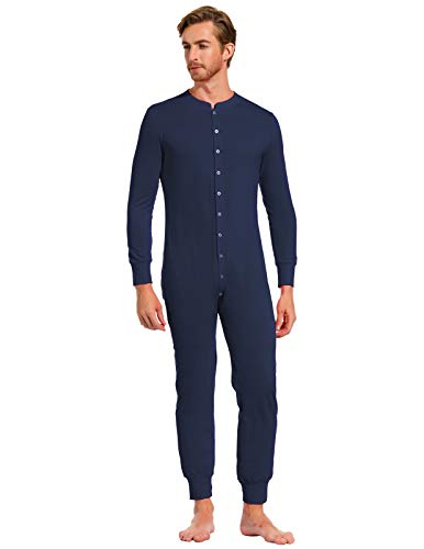 Men's Unisex Onesie Jumpsuit One Piece Non Footed Pajama Playsuit Navy S -