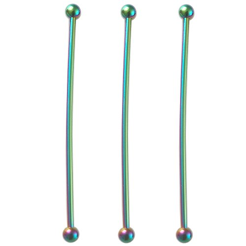 3 pcs piercing industriel oreilles bijouterie grossiste arc-en-ciel Anodisé 1,6x55mm FHJI