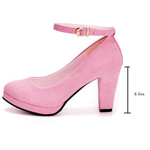Epais Rose Bride 8cm Cheville À Talon Plateforme Femme Lacets Sexy Escarpins Chaussures Aiguille Carré Chaussons Fermeture Manadlian Club Soiree CqAxn1U8wC