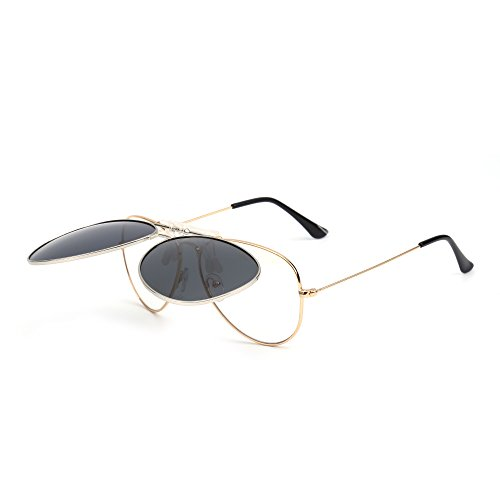 En Flip Hombre Conducir Polarizados Sol Clip Polarizado up Gafas Lentes Anteojos de Gris Plateado Retro Aviador 8I7qB