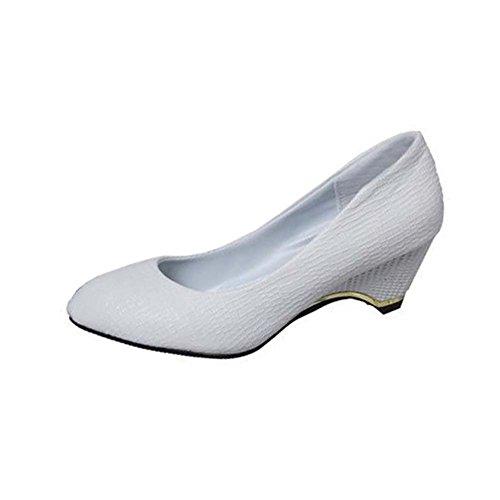 Angelliu Women's Round Toe 5.5cm Wedges Occupational shoes Slip-On White UK 5