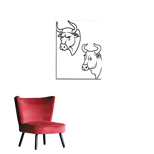 longbuyer Mural Decoration Bull Head Isolated on White Background Mural 20