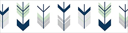 - Sweet Jojo Designs Baby Boy Childrens and Kids Wall Paper Border for Grey, Navy and Mint Woodland Arrow Bedding Collection