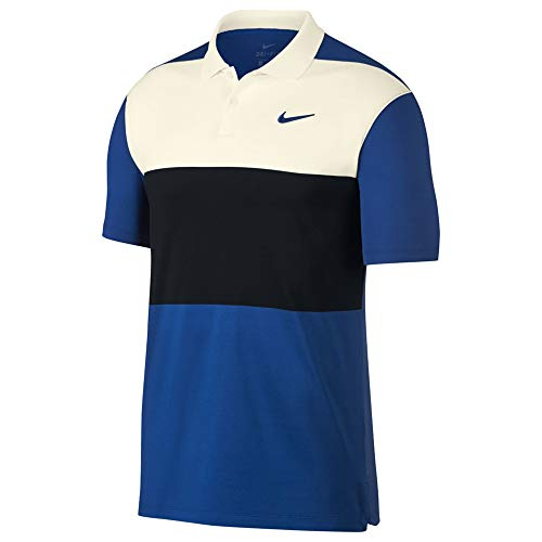 NIKE Dri Fit Vapor CB Golf Polo 2019 Sail/Black/Indigo Force Large