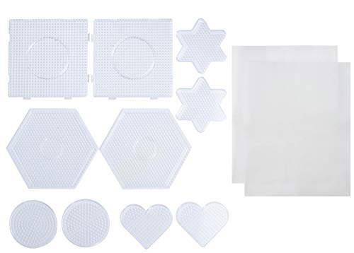 Bead Pegboards - 10-Pack Melty Beads Pegboard in Circle Hexagon Heart Star Square, with 2 Ironing Papers, for Kids Craft