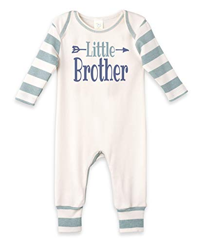 Tesa Babe Little Brother Romper, Newborn Baby Boy Cotton Jumpsuit (LS Aqua Striped, Newborn) -