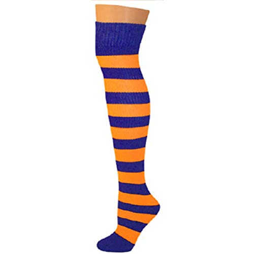 AJs Knee High Striped Socks - Blue/Neon Orange]()
