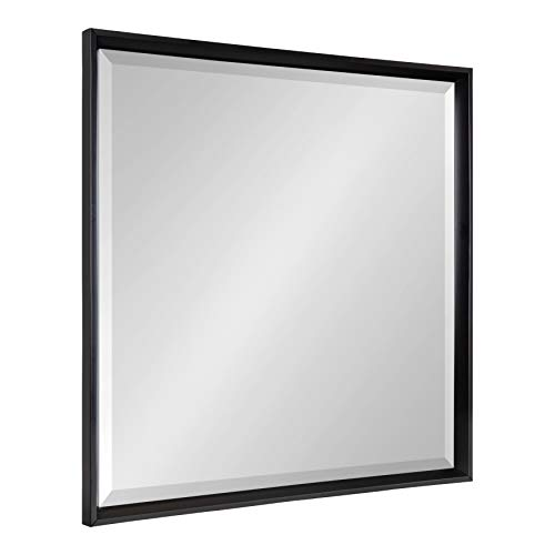 Kate and Laurel Calter Framed Square Wall Mirror, 29.5 x 29.5, - Black Mirrors Bathroom Beveled