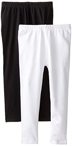 The Children's Place Girls' 2 Pack Basic Leggings, Black/White, Medium (7/8)