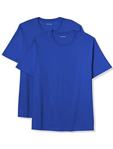 Amazon Essentials Men's Big & Tall 2-Pack Short-Sleeve Crewneck T-Shirt, Blue, 3X ()