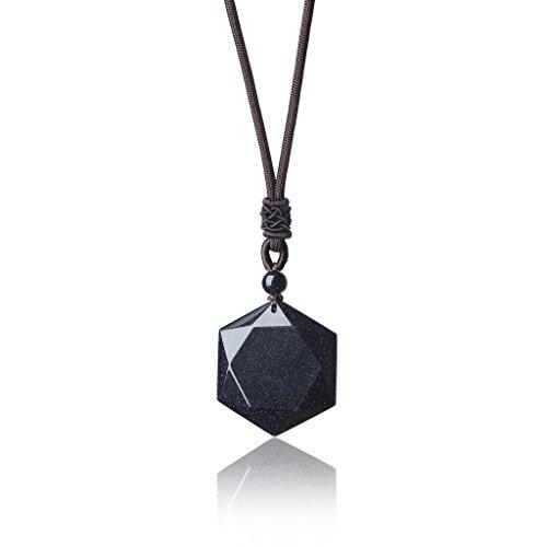 COAI David Star Blue Goldstone Crystal Pendant Adjustable Cord