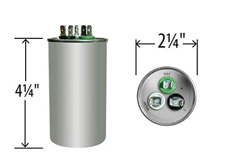 45 + 5 uf / Mfd Round Dual Universal Capacitor • AmRad USA2236 - used for  370 or 440 VAC , Made in the USA