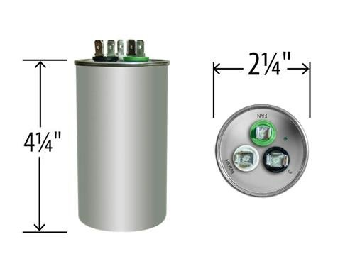 (2) Pack - Goodman CAP050400440CT - 40 + 5 uf / Mfd 370 / 440 VAC AmRad Replacement Round Dual Universal Capacitor - Made in the U.S.A.