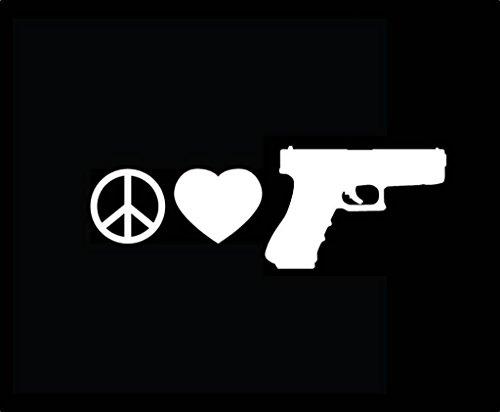 (Chase Grace Studio Peace Love Gun Guns Pistols Vinyl Decal Sticker WHITE Cars Trucks Vans SUV Laptops Wall Art 7.5