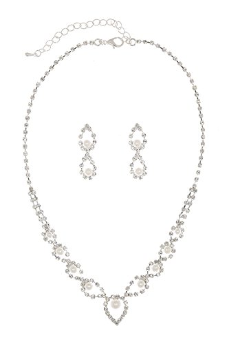 Eye of Peacock Design Crystal Bridal Necklace Earrings Set - Silver Plated Faux Pearls N229 - Crystal Faux Necklace