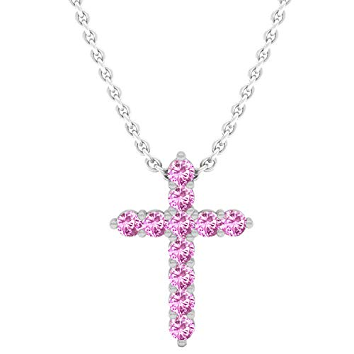 Pink Sapphire Round Cross - Dazzlingrock Collection 14K Round Pink Sapphire Ladies Cross Pendant (Silver Chain Included), White Gold