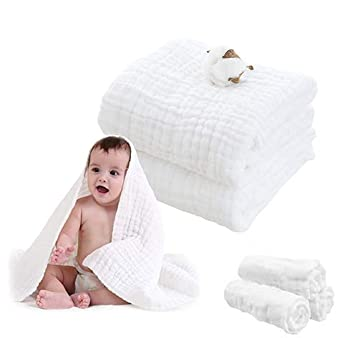 1 Pack Muslin Baby Towel 43x43- Water Absorbent /& Super Soft Muslin Bath Blanket 100/% Medical Grade Natural Cotton 6-Layers Bath Towels for Newborn Baby