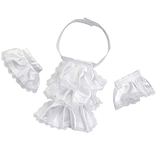 KOGOGO Colonial Unisex Lace Jabot Collar and Cuffs White]()