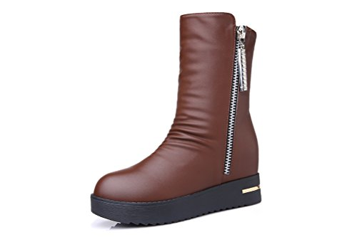 Short PU Leather Martin Boots (Coffee) - 8