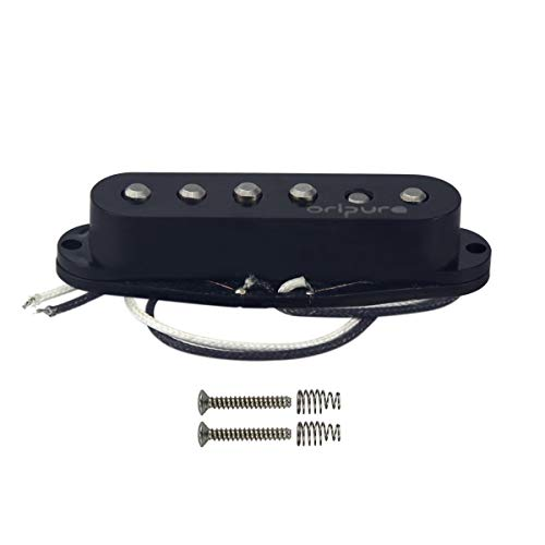OriPure Single Coil Pickup Alnico 5 Staggered Guitar Strat Pickup Neck Position Bright Sound-Black Cover