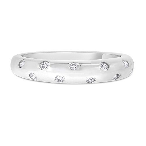 0.14 CT Natural Scattered Diamond Dome Wedding Band in Solid 14k White Gold ()