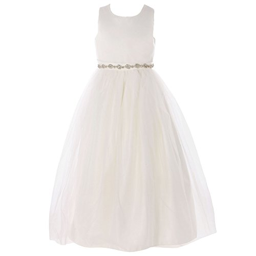 FAYBOX Classy Wedding Flower Girl White Dresses First Holy Communion Ivory Belt 8 (Ivory First Communion Dress)