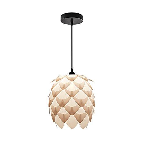 Huarsp B5201706 Fashion Pineapple Wood Veneer Material Shape Chandeliers for Restaurant, Study, Kitchen,Bedroom, etc.White